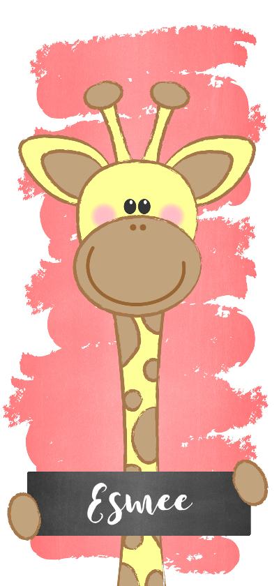 Geboortekaartjes - Geboortekaartje met een  lief girafje met naambordje
