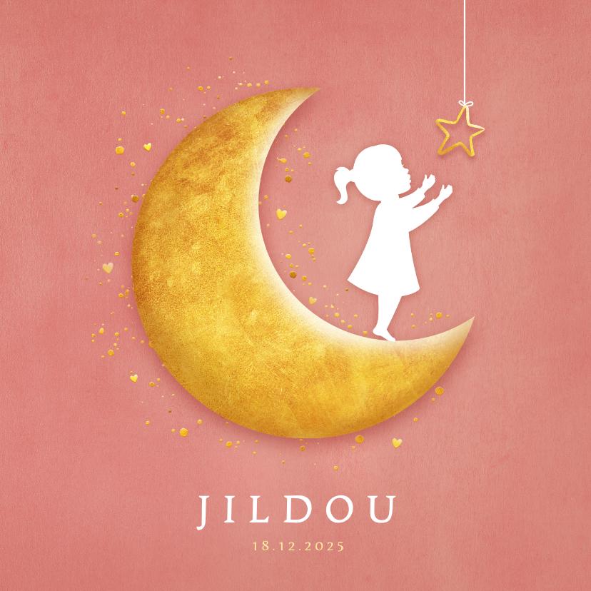 Geboortekaartjes - Geboortekaartje met een silhouet van een meisje op de maan
