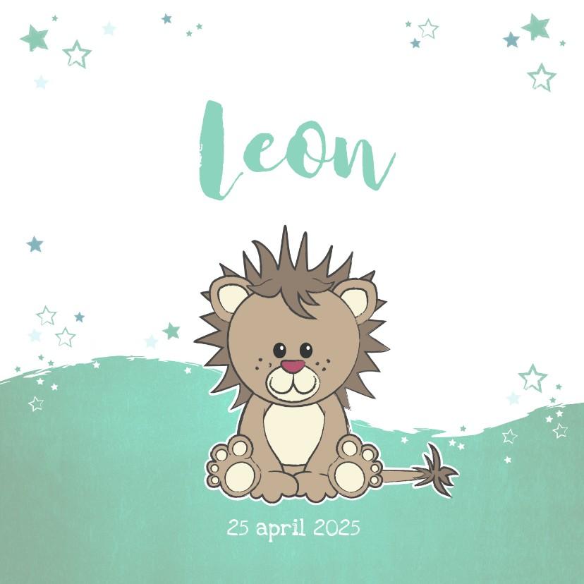 Geboortekaartjes - Geboortekaartje met een stoere lieve leeuw met sterren