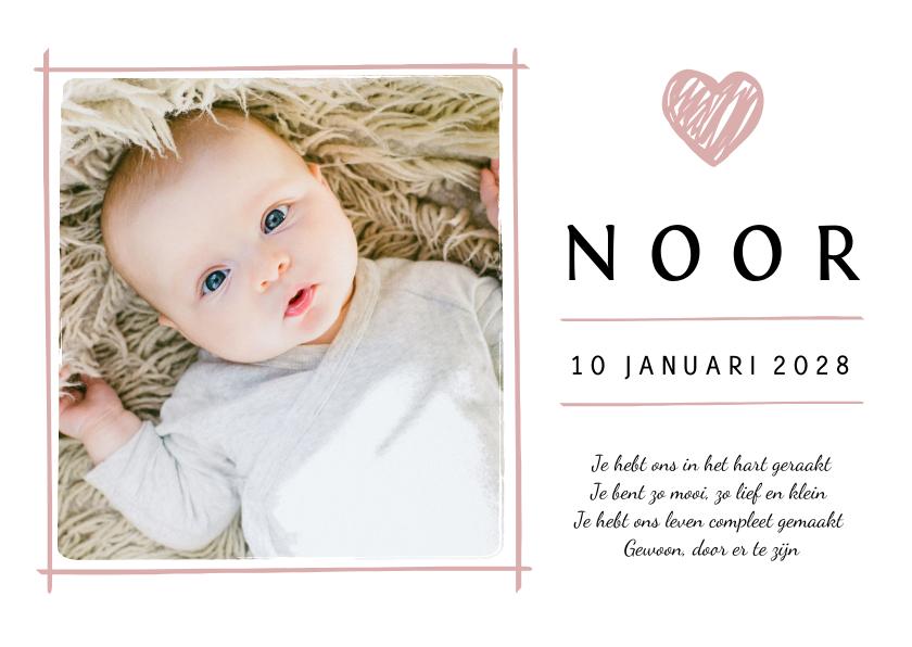 Geboortekaartjes - Geboortekaartje met eigen foto en roze hartje