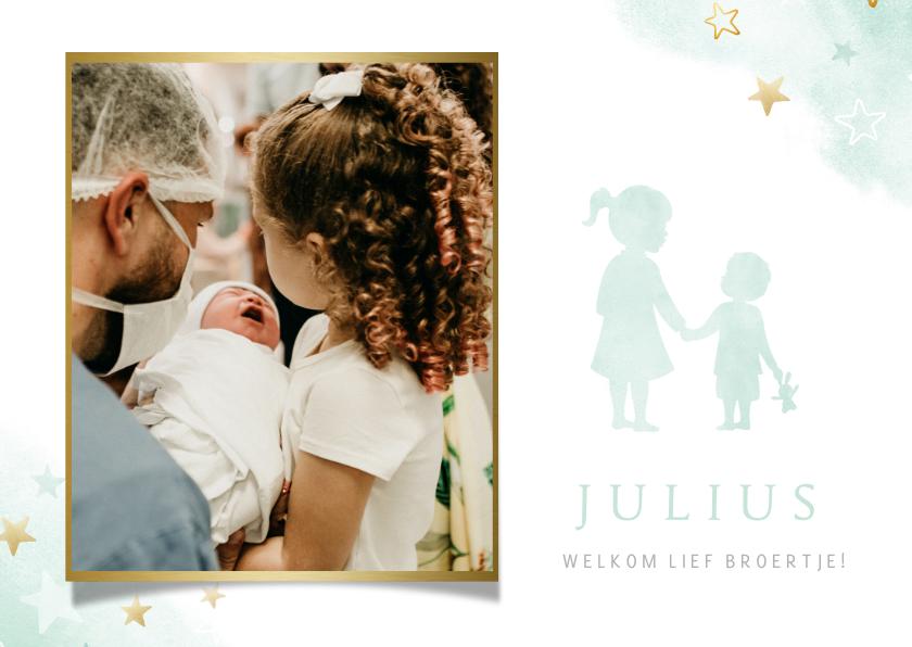 Geboortekaartjes - Geboortekaartje met eigen foto - silhouet zus met broertje