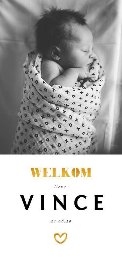 Geboortekaartjes - Geboortekaartje met foto en gouden accenten langwerpig