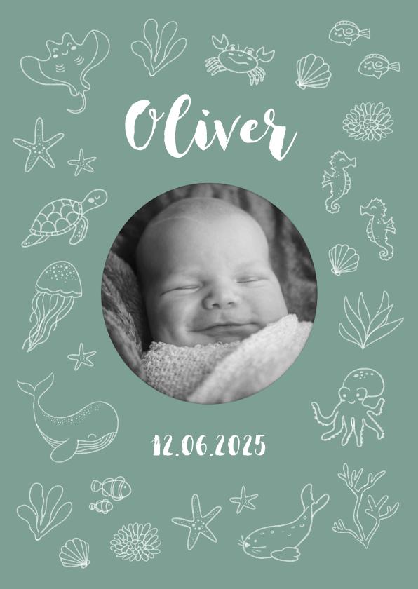 Geboortekaartjes - Geboortekaartje met foto en zeedieren