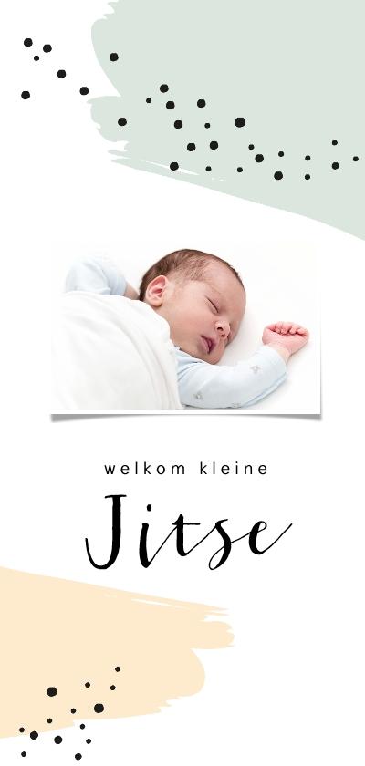 Geboortekaartjes - Geboortekaartje met foto met groene en gele brush