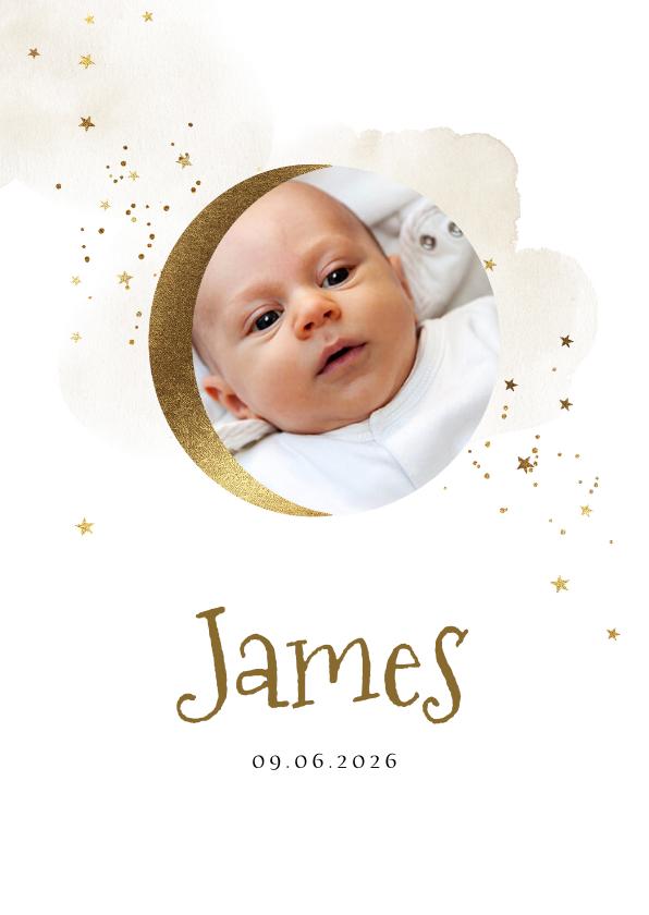 Geboortekaartjes - Geboortekaartje met foto, waterverf en maantje in goud