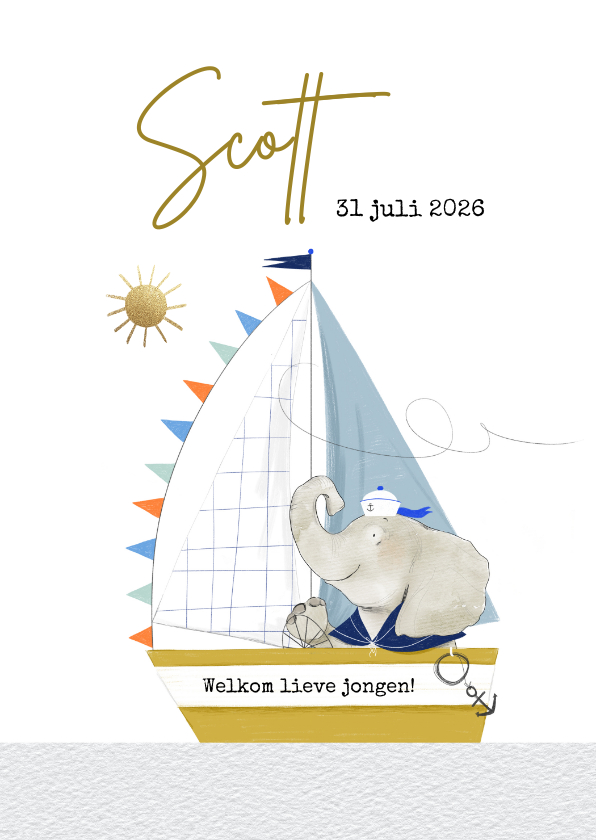 Geboortekaartjes - Geboortekaartje met geïllustreerd olifantje in zeilboot