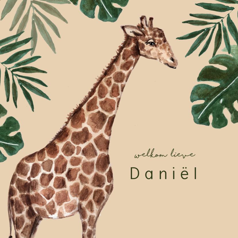 Geboortekaartjes - Geboortekaartje met giraffe en tropische bladeren