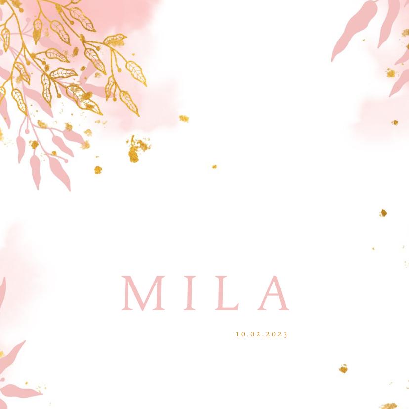 Geboortekaartjes - Geboortekaartje met gouden bladeren en waterverf stijlvol