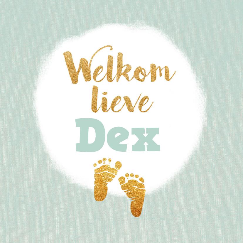 Geboortekaartjes - Geboortekaartje met gouden voetjes