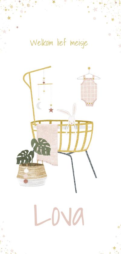 Geboortekaartjes - Geboortekaartje met illustratie van babykamer meisje
