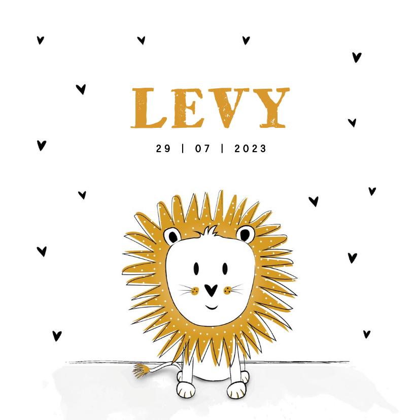 Geboortekaartjes - Geboortekaartje met illustratie van een leeuwtje