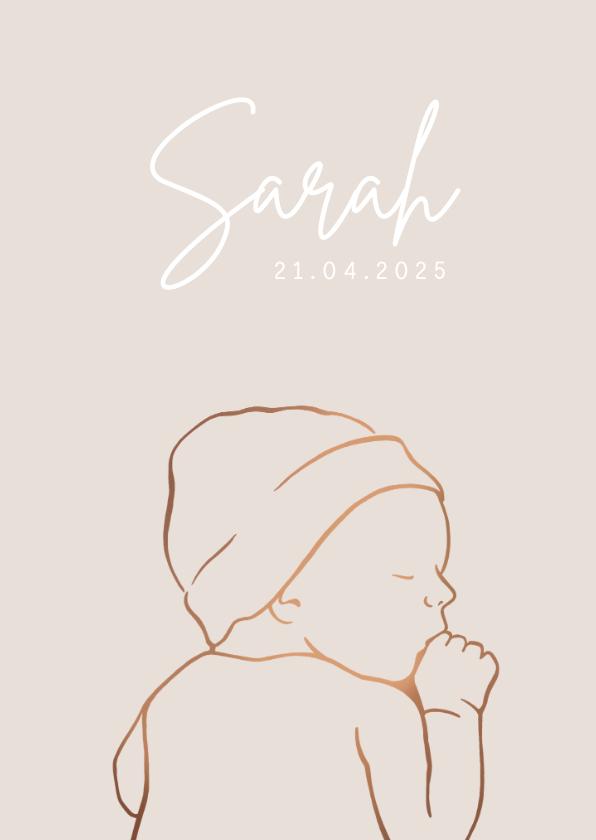 Geboortekaartjes - Geboortekaartje met koperlook lijntekening van baby