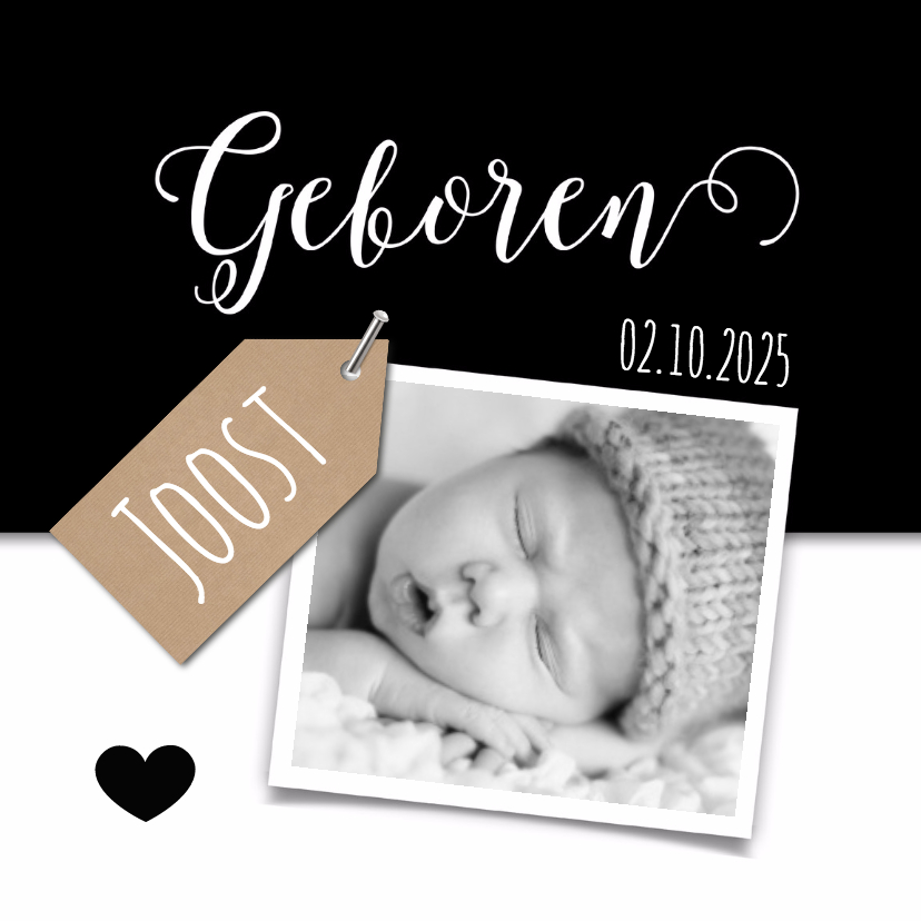 Geboortekaartjes - Geboortekaartje met kraft label, zwart wit en foto