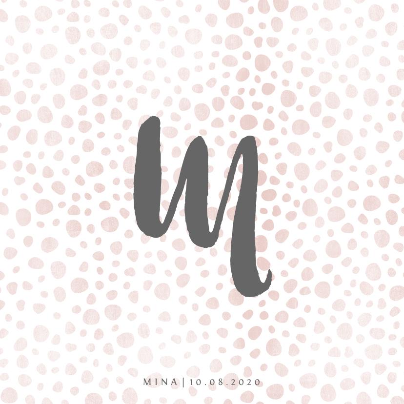 Geboortekaartjes - Geboortekaartje met letter en roze patroon