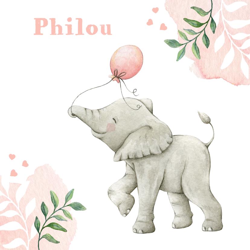 Geboortekaartjes - Geboortekaartje met lieve illustratie olifantje in aquarel