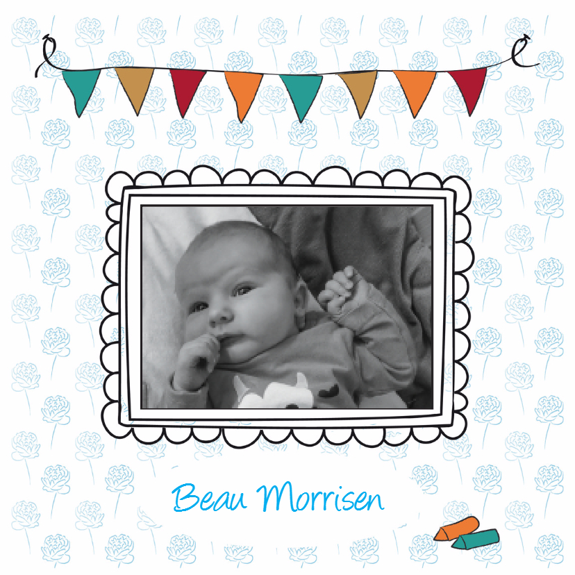 Geboortekaartjes - Geboortekaartje met lijstjes