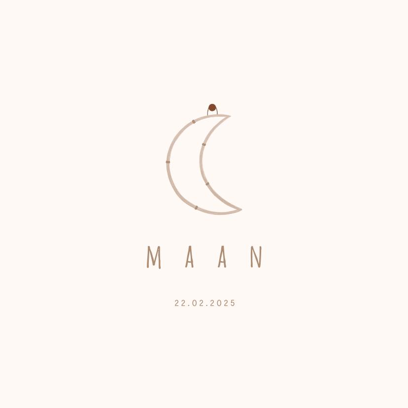 Geboortekaartjes - Geboortekaartje met maan hangertje