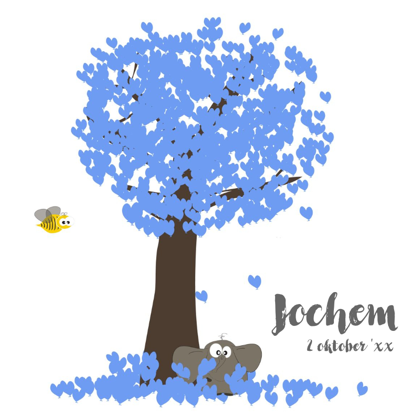 Geboortekaartjes - geboortekaartje met olifant boom en hartjes ballonnen