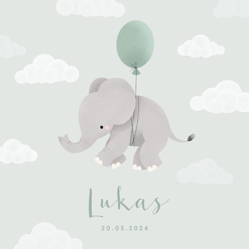 Geboortekaartjes - Geboortekaartje met olifantje aan ballon en wolkjes