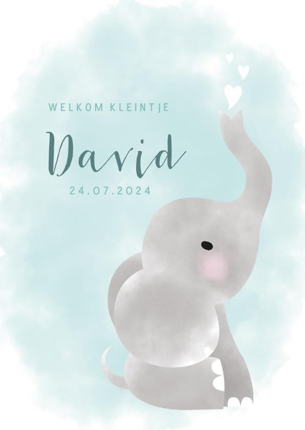 Geboortekaartjes - Geboortekaartje met olifantje, waterverf en hartjes