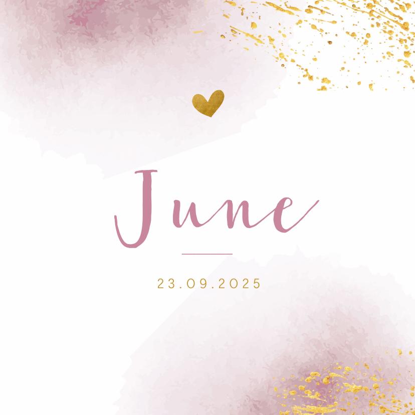 Geboortekaartjes - Geboortekaartje met roze waterverf en goudspetters