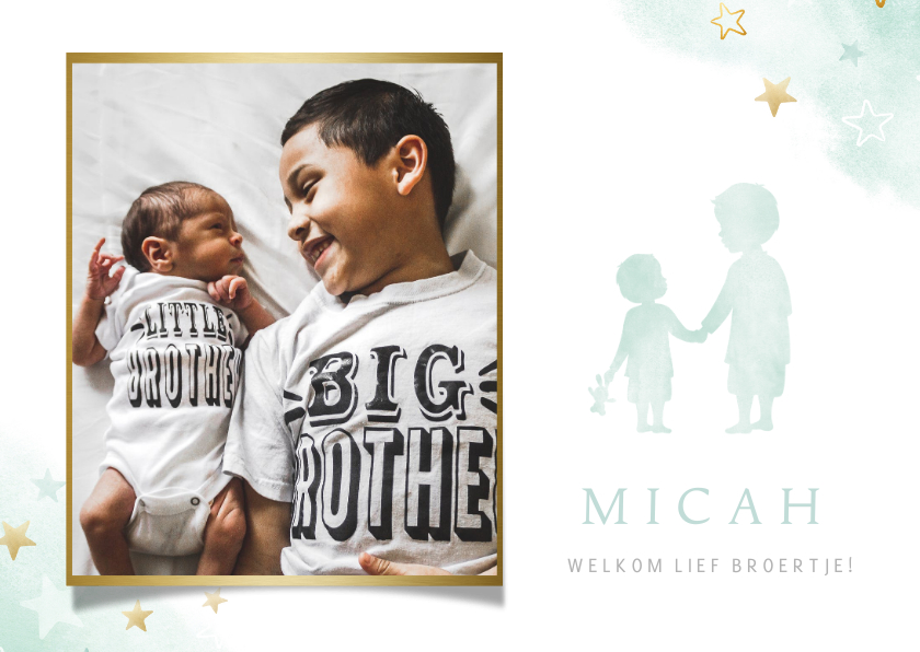 Geboortekaartjes - Geboortekaartje met silhouet van 2 broers en een eigen foto