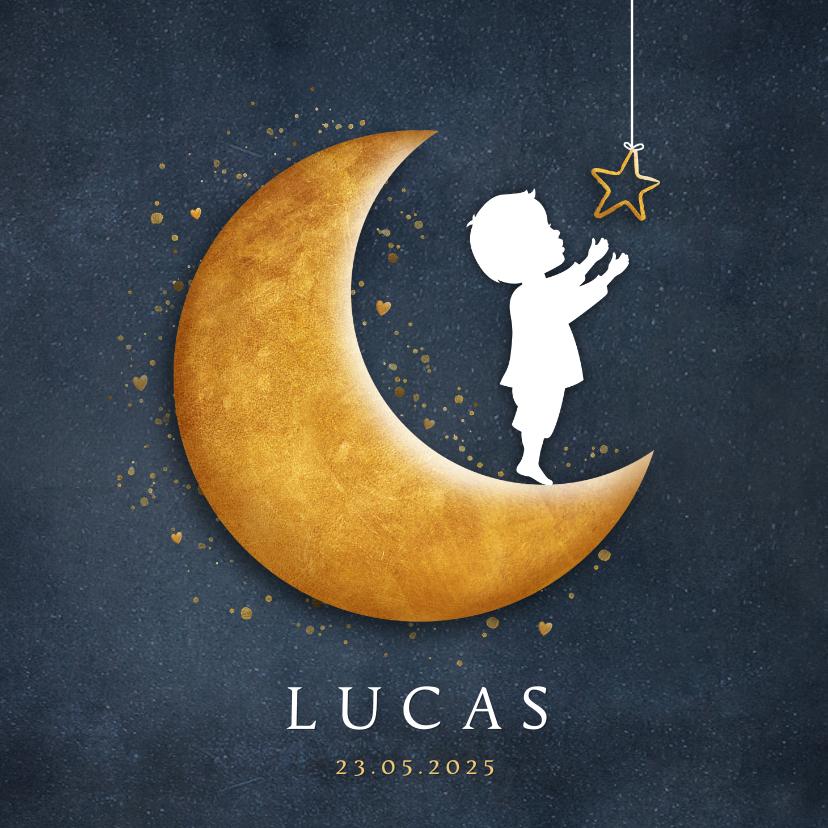 Geboortekaartjes - Geboortekaartje met silhouet van een jongen op gouden maan