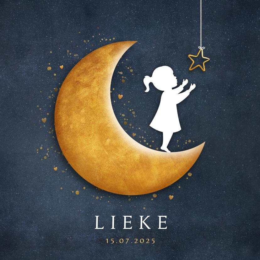 Geboortekaartjes - Geboortekaartje met silhouet van een meisje op gouden maan