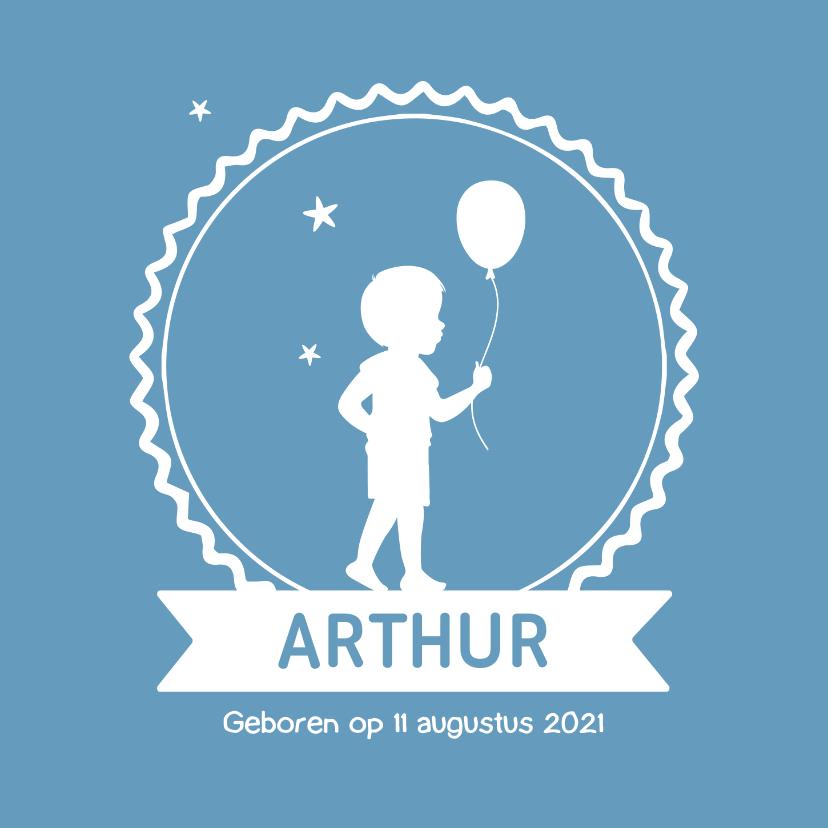 Geboortekaartjes - Geboortekaartje met silhouet voor een jongen