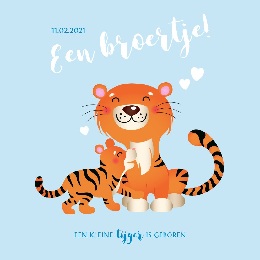 Geboortekaartjes - Geboortekaartje met tijgers en hartjes