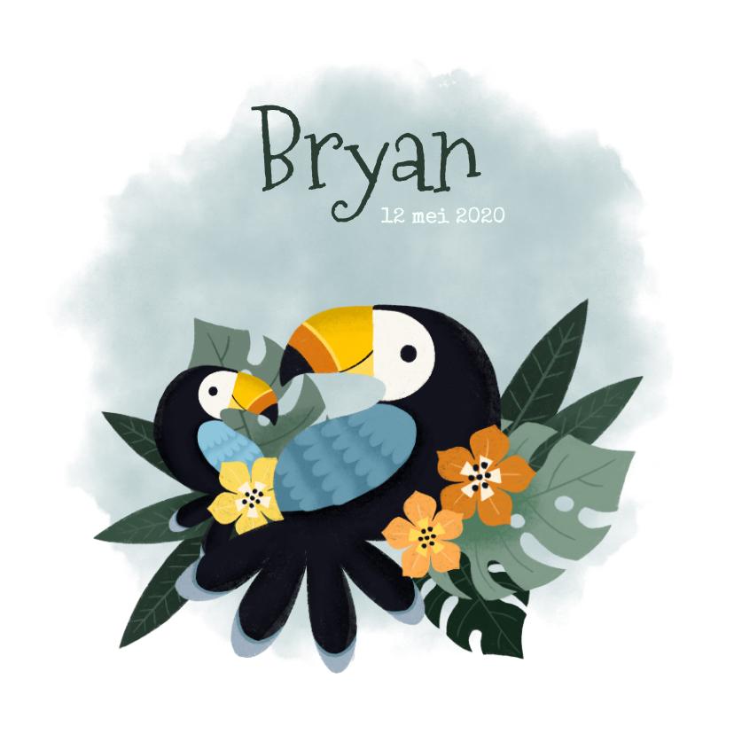 Geboortekaartjes - Geboortekaartje met toekans, plantjes, bloemen en waterverf