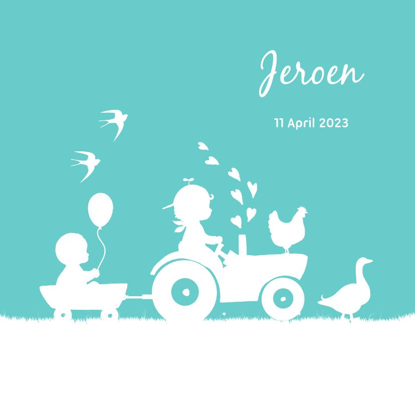 Geboortekaartjes - Geboortekaartje met tractor voor een broertje