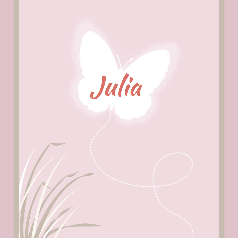 Geboortekaartjes - Geboortekaartje met vlinder - HE