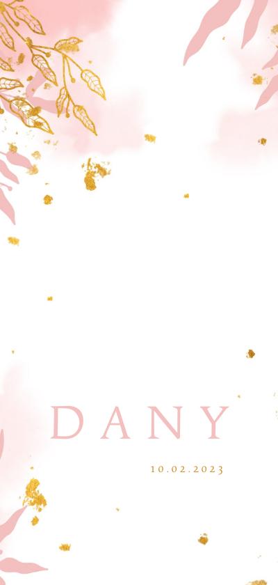 Geboortekaartjes - Geboortekaartje met waterverf en gouden bladeren stijlvol