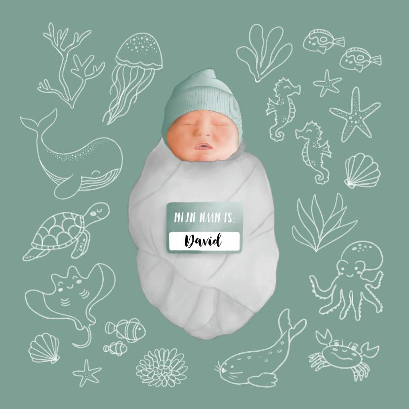 Geboortekaartjes - Geboortekaartje met zeedieren en een baby
