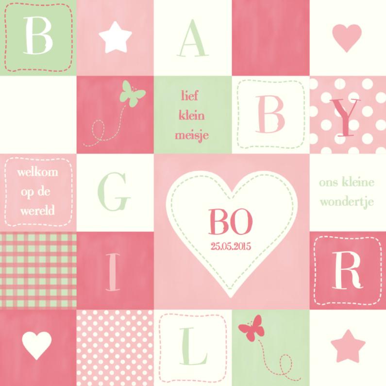 Geboortekaartjes - Geboortekaartje Mint & Pink Girl
