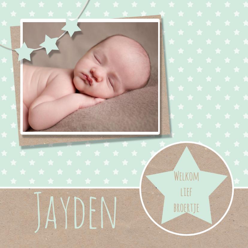 Geboortekaartjes - Geboortekaartje mint karton ster