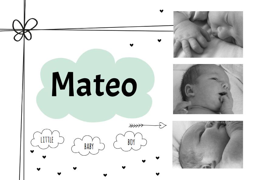 Geboortekaartjes - Geboortekaartje Mint wolkje foto