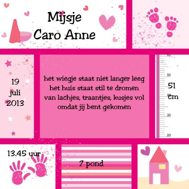 Geboortekaartjes - Geboortekaartje modern meisje