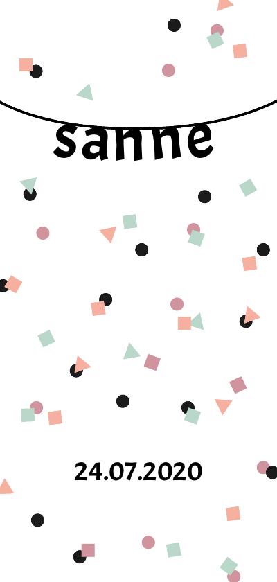 Geboortekaartjes - Geboortekaartje naamslinger confetti meisje