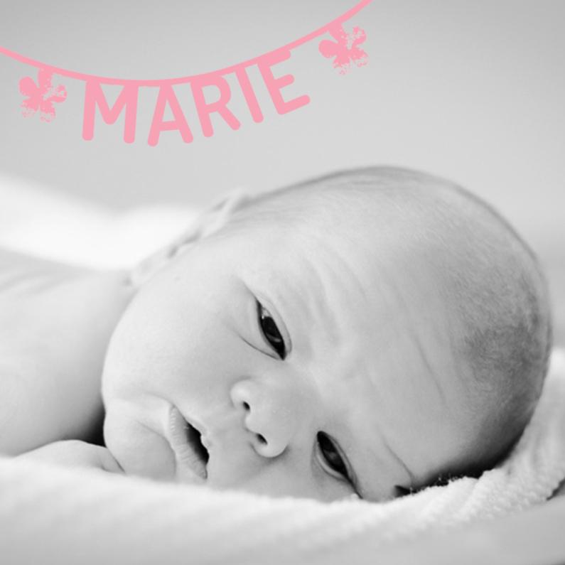 Geboortekaartjes - Geboortekaartje naamslinger roze