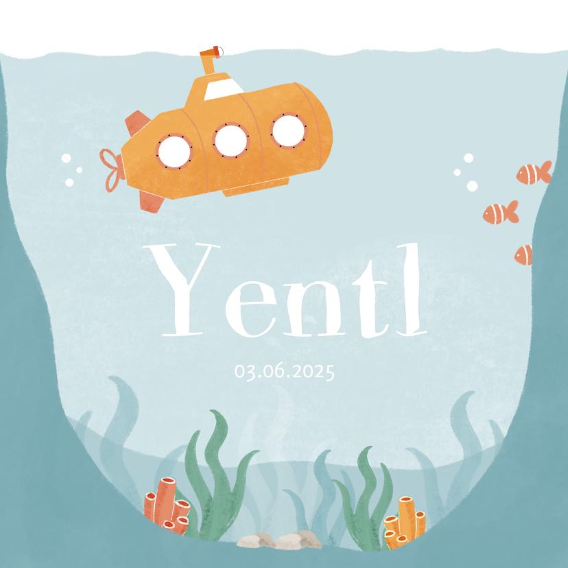 Geboortekaartjes - Geboortekaartje oceaan met onderzeeër en koraal