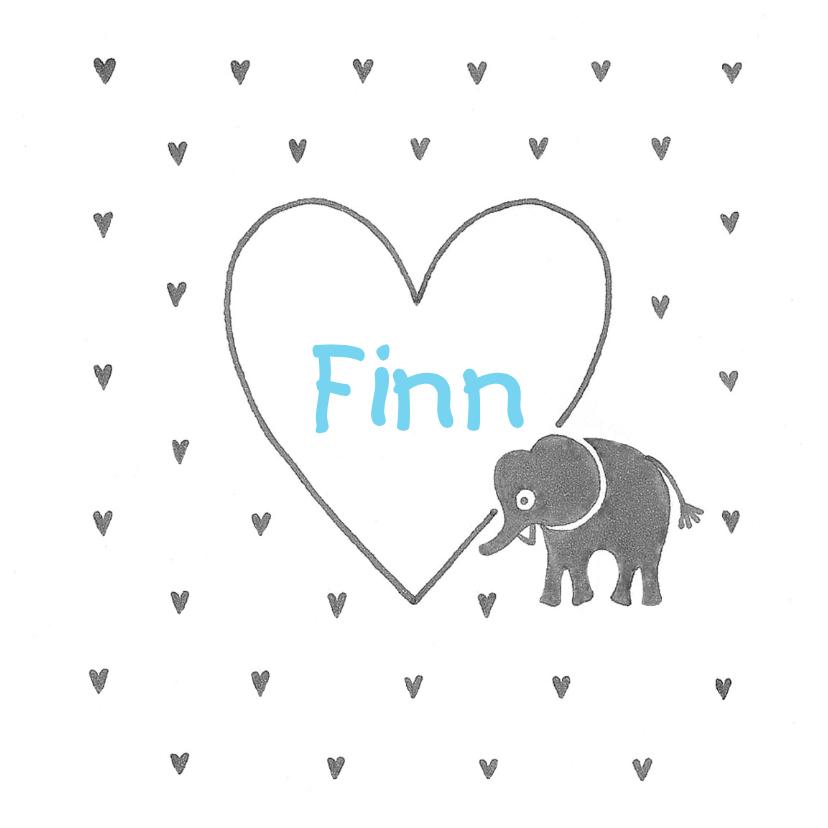 Geboortekaartjes - Geboortekaartje olifant hart