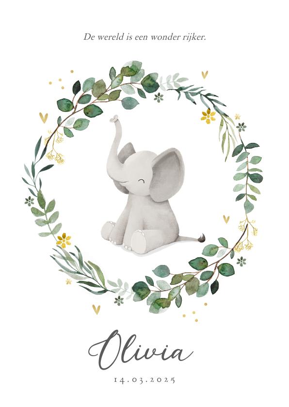 Geboortekaartjes - Geboortekaartje olifant hartjes goud bloemen