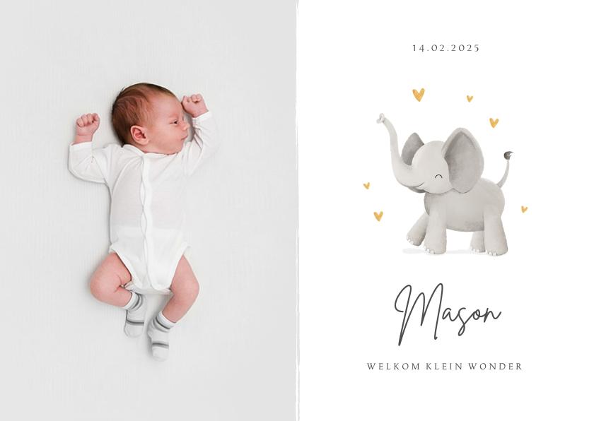 Geboortekaartjes - Geboortekaartje olifant hartjes stijlvol lief goud foto