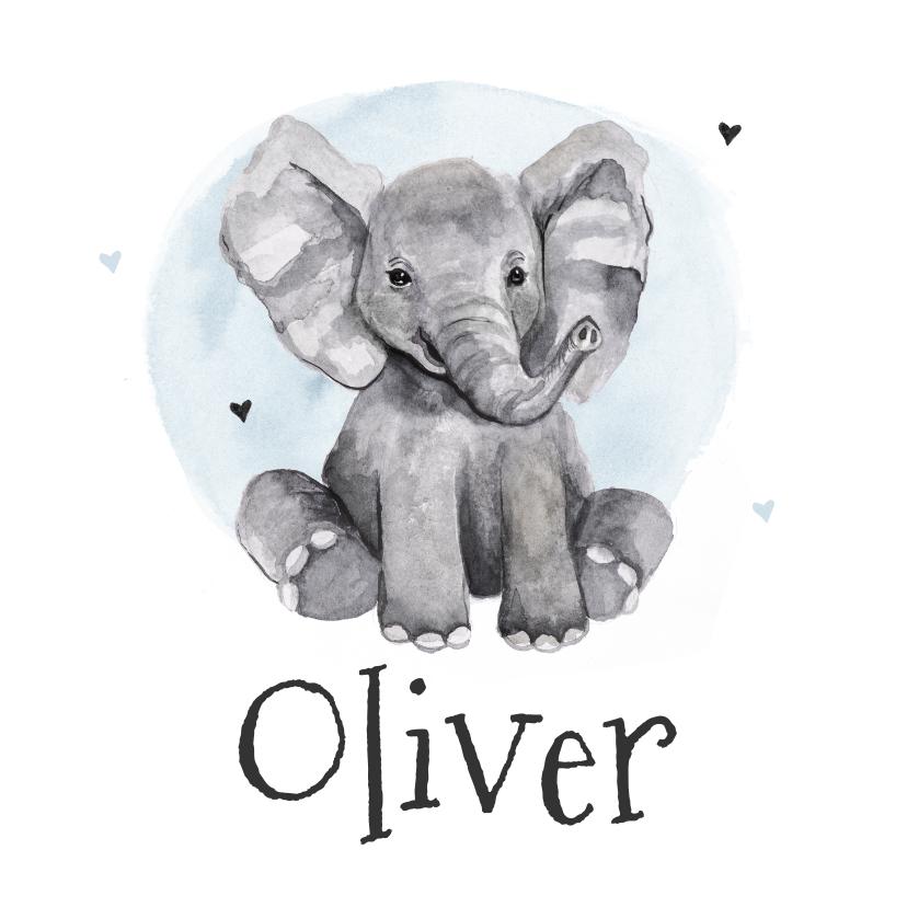 Geboortekaartjes - Geboortekaartje olifant jongen waterverf hartjes