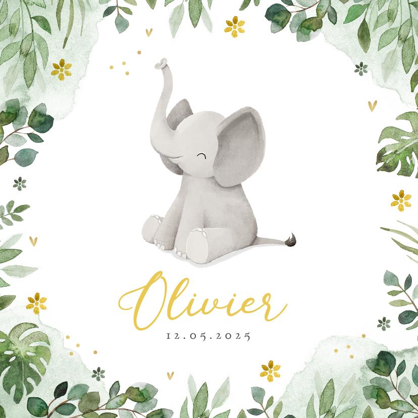 Geboortekaartjes - Geboortekaartje olifant jungle bloemen waterverf hartjes
