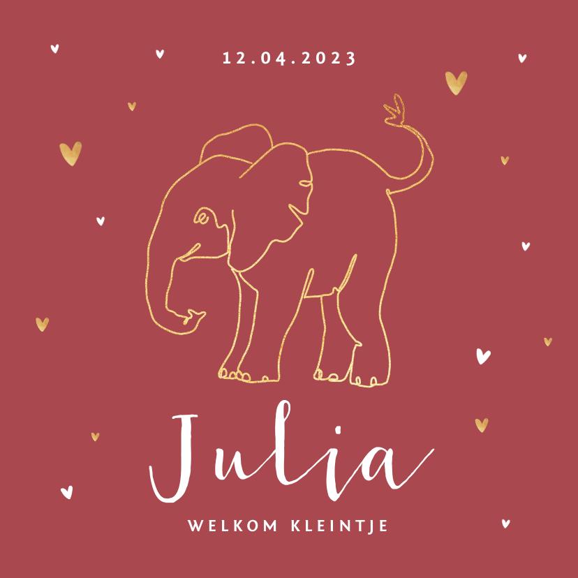 Geboortekaartjes - Geboortekaartje olifant meisje stijlvol goud lijntekening