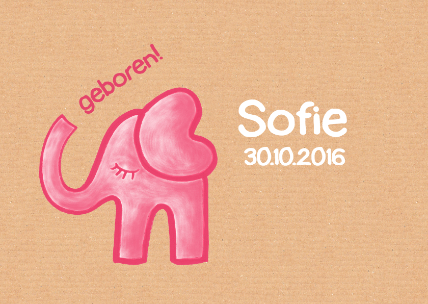 Geboortekaartjes - geboortekaartje olifant Sofie