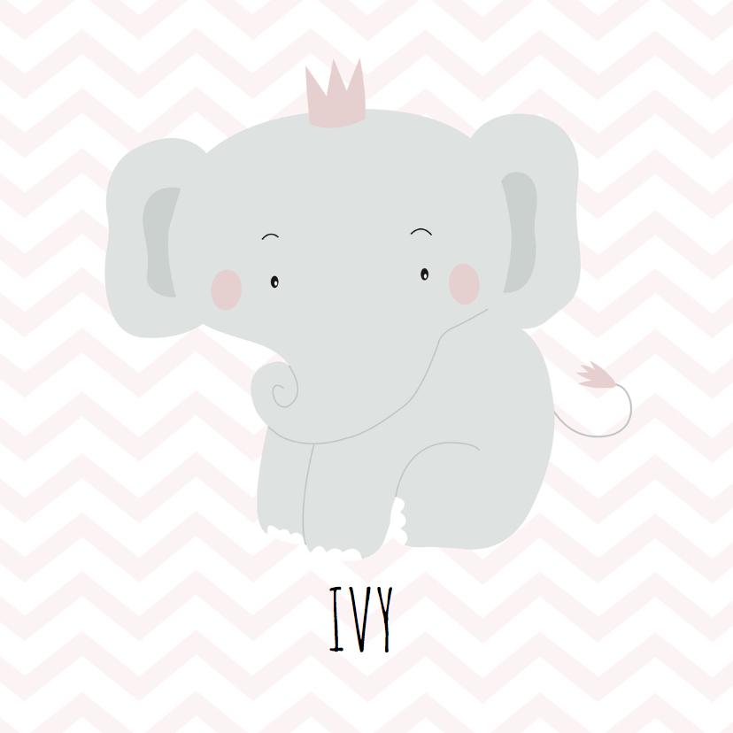 Geboortekaartjes - Geboortekaartje olifantje meisje